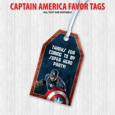 Captain America Favor Tags by DigitalDesignChile on Etsy