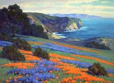 Spring Flowers (poppies And Lupine) Artwork By John Marshall Gamble Oil Painting & Art Prints On Canvas For Sale Watercolor Landscape, Landscape Art, Landscape Paintings, Landscape Curbing, Landscape Fabric, Forest Landscape, Landscape Pictures, Contemporary Landscape, Landscape Design