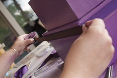 Showing the adding of the brown ribbon on top of the purple ribbon. Diy Card Box, Purple Ribbon, Diy Projects, Create, Brown, Cards, Top, Brown Colors, Handyman Projects