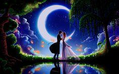 Art paintings, moonlight dating boyfriend and girlfriend wallpaper 1680x1050.