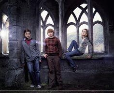 Harry Potter en ron Wemel en Hermelien Griffel