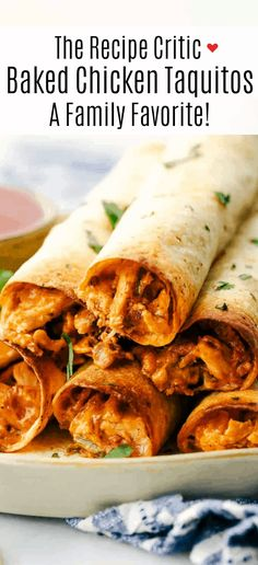 Cream cheese chicken taquitos are filled with a tender chicken mixture with cheese sprinkled over top then rolled in a flour tortilla and baked to perfection. These taquitos are a family favorite! Baked Taquitos, Taquitos Recipe, Homemade Taquitos, Mexican Dishes, Mexican Food Recipes, Tortillas, Baked Chicken, Chicken Recipes, Queso Blanco