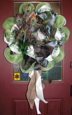 Summer Spring Deco Mesh Peacock Wreath   eBay