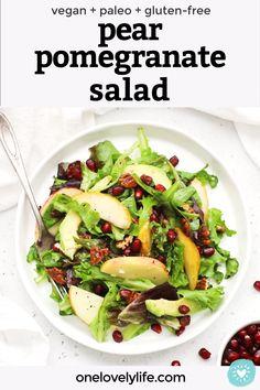 Pomegranate Recipes Healthy, Pomegranate Salad, Side Salad Recipes, Side Dish Recipes, Veggie Side Dishes, Side Dishes Easy, Vegetarian Recipes, Cooking Recipes, Healthy Recipes