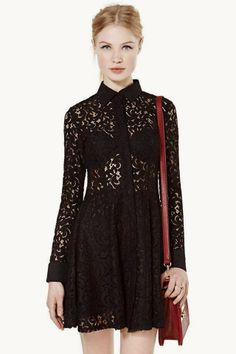 at Nasty Gal // black lace collared dress