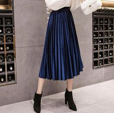 2019 Autumn Winter Velvet Skirt High Waisted Skinny Large Swing Long Pleated Skirts Metallic 18 Colors Plus Size Midi Saia - 24 Red XXXL Satin Pleated Skirt, Velvet Pleated Skirt, Skirt Outfits, Dress Skirt, Calf Length Skirts, Plus Size Skirts, Vintage Skirt, Ladies Dress Design, Skirt Fashion