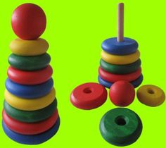 LEARNING!!! ECO WOODEN TOY KIDS COLOUR BLOCKS PYRAMID