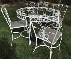 Vintage wrought iron white garden patio table 4 chairs ivy detail  $715
