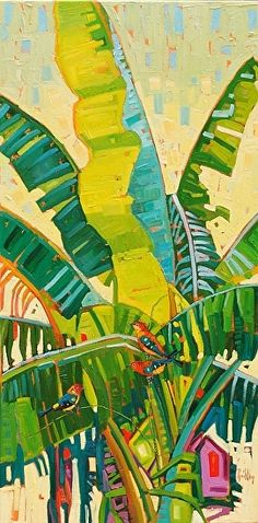"""Mid-Summer Arrangement,"" by René Wiley by Rene' Wiley Gallery Oil ~ 48 x 24 Canvas Mobile, Caribbean Art, Wow Art, Tropical Art, Abstract Oil, Botanical Art, Landscape Art, Painting Inspiration, Original Paintings"