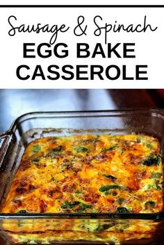 Sausage and Spinach Egg Bake Breakfast Casserole is the perfect quick and easy make-ahead, meal prep dish with cheese, sauteed onions, and peppers. This dish is keto friendly and perfect for keto diets. Serve this dish for your holiday breakfasts and brunch! #EggBake#EggCasserole#KetoBreakfast #KetoFriendly #BreakfastCasserole #MealPrep #MealPrepBreakfast #MealPrepCasserole #HealthyBreakfast