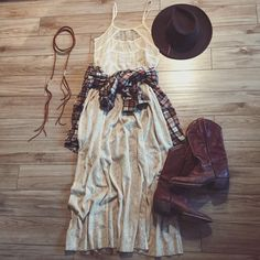 Lace dress & cowboy boots paired w/flannel shirt ♡➵