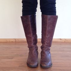 """J. Crew Genuine Leather Riding Boots Leather upper. Leather liner. Brown. Beautifully distressed from natural use. Zipper on inner ankle. Inner leg has a stretch band stitched in for easy pull on. Some leather lift on heel, but not noticeable (last photo) Comfortable and fashionable! Fits size 7 comfortably, fits true to size 7.5 with thin socks. I'm 5'5"""" and they hit just under the knee. Made in Italy. J. Crew Shoes"""
