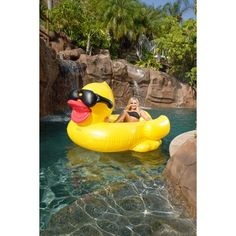NEW FOR 2016 GAME 5000 Giant Inflatable Pool Floating Riding Derby Duck w/Cup Holders and Straps (Floatie Lounge for Adults and Kids, Larger than Swan) Summer Pool, Summer Fun, Cool Pool Floats, Large Pool Floats, Pool Rafts, My Pool, Pool Fun, Water Toys, Kids Swimming