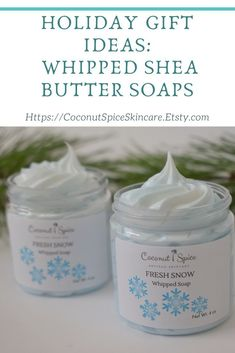 These beautiful holiday whipped soaps are made with fair trade Shea butter and make wonderful holiday gifts for her, gifts for teachers and coworkers! They are also great stocking stuffers for her! Handmade soaps make thoughtful thank you gifts too! Special Birthday Gifts, Birthday Gifts For Sister, Stocking Stuffers For Her, Relaxation Gifts, Whipped Soap, Shea Butter Soap, Work Gifts, Gifts For Coworkers, Best Friend Gifts