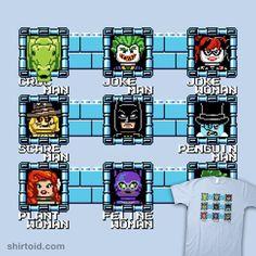 MegaBat Brick Masters | Shirtoid #batman #catwoman #comic #comics #dccomics #film #gaming #harleyquinn #killercroc #lego #legominifigure #megaman #minifig #movie #nathandavis #obvian #penguin #poisonivy #thejoker #theriddler #thescarecrow #videogame