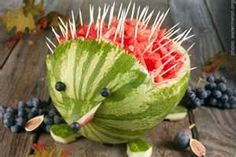 Summer is a great time to eat watermelon. Why not eat it when it looks like a porcupine! This is just too cute!