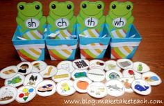 WORD SORT  This activity can also be adapted to use for complex consonant patterns.  Write the consonant blends on a container (whether it be a frog, ice cream cone, or another cute character), and have pictures of words that correlate with each blend.  This activity can be used with the written words or with pictures, to connect the sounds of the blends as well as what they look like written.