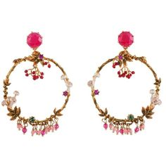 Les Néréides FANTASY GARDEN BERRIES AND MUSHROOM HOOP EARRINGS ($240) ❤ liked on Polyvore featuring jewelry, earrings, jewelry earrings, white pink green gold red, flower earrings, white earrings, red jewelry, animal earrings and red hoop earrings