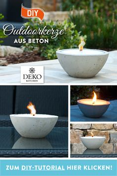 DIY: Summer decoration with big outdoor candle made of concrete! In this tutorial I show . - DIY: Summer decoration with big outdoor candle made of concrete! In this tutorial, I& show y - Outdoor Candles, Diy Candles, Outdoor Decor, Summer Party Decorations, Diy Crafts To Do, Diy Décoration, Hallway Decorating, Summer Diy, White Decor
