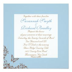 Chocolate & Blue Butterfly Wedding Invitations