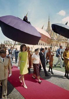 Jackie Kennedy pictured during a six-day visit to Cambodia in 1967. Photographer Philip Jo...