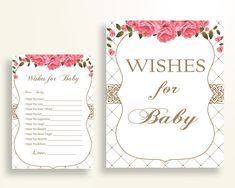 Wishes For Baby Baby Shower Wishes For Baby Roses Baby Shower Wishes For Baby Baby Shower Roses Wishes For Baby Pink White prints U3FPX - Digital Product #babyshowergames #babyshowerdecorations