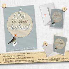 """30-100 Hochzeitseinladungen """"Ihr bei unserer Hochzeit""""-BLAU mit Vogel"""
