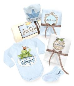 A magical personalized blue set for the new prince.  This lovely birth gift contains:    * Soft and useful baby blanket  * Pair of little socks.  * Cute bodysuit - short or long - 100% cotton (choose your color : Blue or Cream )  * 2 top quality cotton muslin diapers.  * Soft royal hat.  Price: $109
