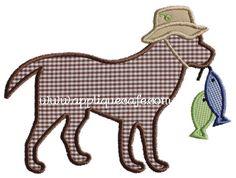 Fishing Dog Applique Design