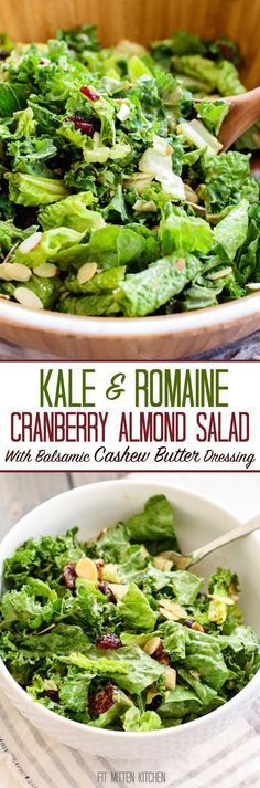 Kale and Romaine Cranberry Almond Salad. Made with a delicious homemade balsamic cashew butter dressing! -- seriously the perfect party salad. Everyone loves this dressing. Healthy Salad Recipes, Whole Food Recipes, Vegetarian Recipes, Free Recipes, Budget Recipes, Delicious Recipes, Budget Dinners, Vegetarian Salad, Alkaline Recipes
