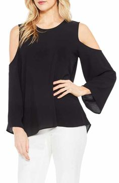 5616a95e6fd6d1 Vince Camuto Cold Shoulder Blouse (Regular   Petite) Bell Sleeve Top
