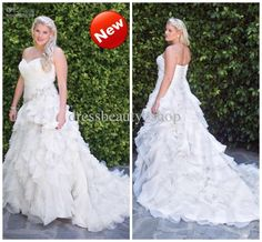 Wholesale 2013 New Arrival Organza Sweetheart Ruched Garden Ruffles Luxury Plus Size A Line Wedding Dresses, Free shipping, $254.24-276.64/Piece | DHgate