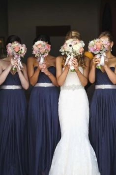 Navy bridesmaid Dresses and Blush Bouquets