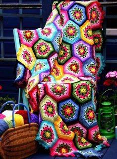 Hex granny square quilt