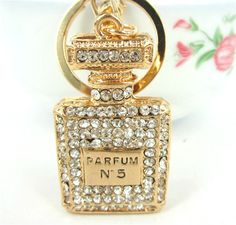 Square Perfume Bottle Lovely Pendent Cute Swarovski Crystal Purse Bag Key Chain