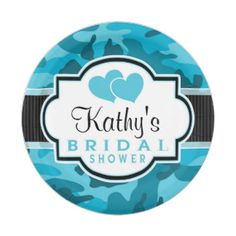 Blue Camo, Camouflage Bridal Shower 7 Inch Paper Plate