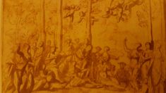 APOLLO AND THE MUSES ON MOUNT PARNASSUS. suggested date: 1626/1632. pen and brown ink and brown wash. 17,6 × 24,5 cm. Los Angeles. The J. Paul Getty Museum. Inv.no. 83.GG.345 Nicolas Poussin, Getty Museum, Apollo, Baroque, Ink, Texture, Brown, Painting, Surface Finish