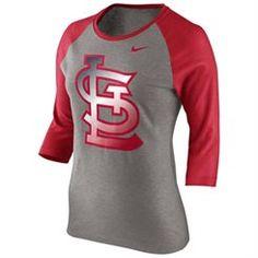 Nike St. Louis Cardinals Ladies Gradient Raglan Three-Quarter Length T-Shirt - Gray/Red