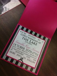 victoria secret / paris themed bachelorette invites  I like the wording of the invite since we're doing a weekend.