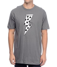 """Pizza is power. Add a tasty style to you wardrobe with the charcoal grey Pizza Bolt t-shirt for guys from Chomp that has a black and white pizza lightening bolt graphic printed on the chest with """"Foodbeast"""" and a logo graphic printed in black on the botto White Pizza, Charcoal, Graphic Tees, Black And White, Skate, Mens Tops, How To Wear, T Shirt, Cotton"""