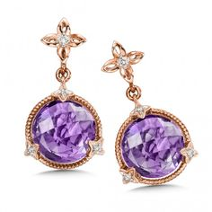 Truly beautiful! Amethyst & Diamond Earrings in 14K Rose Gold