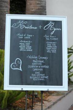 Our Chalkboard ceremony board :)  #chalkboard