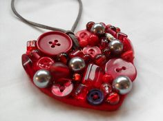 Upcycled Red Felt Wool pendant with Beads and Buttons