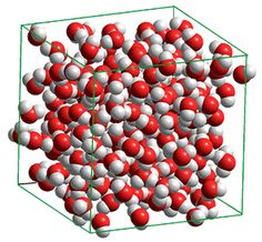 Computational model of a small periodic box containing 216 water molecules