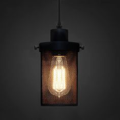 Black Mesh Cylinder Industrial Loft Pendant Light #60W #black #cage