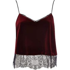 Red velvet lace cami top $44.00