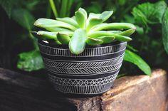 Black + White Geometric Line Pattern Table Planter // Succulent Table Planter // Cactus Planter // Herb Planter