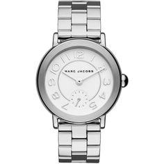 Marc Jacobs Riley Stainless Steel Bracelet Watch ($200) ❤ liked on Polyvore featuring jewelry, watches, apparel & accessories, silver, stainless steel wrist watch, bezel watches, quartz movement watches, marc jacobs and bracelet watch