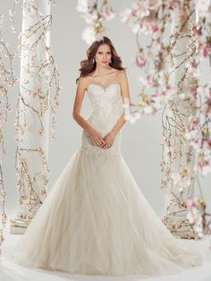Style Y11420, Ros, is a beautiful fit and flare tulle wedding dress with corset back designed by Sophia Tolli, click here for more details.