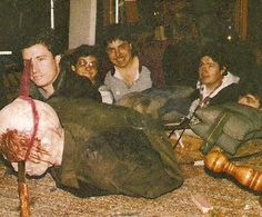 Behind the scenes still from filming Jason's death scene in Friday the 13th: The Final